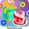 Vector Clipart picture  of a birthday cake and present
