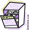 Vector Clipart graphic  of a Dishwashers