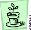 Potted Plants and Flowers Vector Clip Art graphic