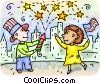 Vector Clipart picture  of a Couple celebrating