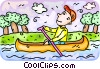 Man paddling a canoe Vector Clip Art graphic