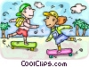 Girls on skateboards Vector Clipart picture
