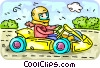 Vector Clip Art graphic  of a Person driving a go-cart