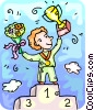 The winner on the podium with his trophies Vector Clipart illustration