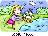 girl playing with a toy boat Vector Clipart illustration