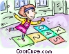 Vector Clip Art image  of a Girl playing hopscotch