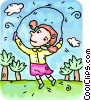 Vector Clip Art graphic  of a girl skipping rope