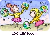 Vector Clip Art graphic  of a Cheerleaders performing