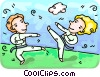 Martial artists practicing Vector Clipart illustration