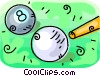 Vector Clip Art graphic  of a Pool balls and pool cue