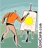 Man painting a picture Vector Clipart picture