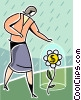 Vector Clipart image  of a woman with financial flower