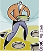 Vector Clip Art graphic  of a businessman with puzzle pieces