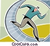 businessman running in a wheel Vector Clipart illustration