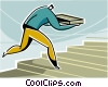 man running up the stairs Vector Clipart picture