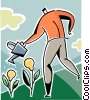 Vector Clipart graphic  of a Man with watering can growing