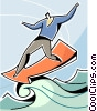 Man riding a wave of success Vector Clipart illustration