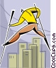 man walking on stilts overcoming obstacles Vector Clip Art picture