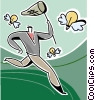 Vector Clip Art graphic  of a Businessman chasing ideas