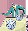 Vector Clip Art picture  of a rolling the dice