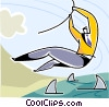 businessman swinging over sharks Vector Clip Art picture