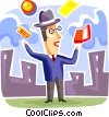 Vector Clip Art graphic  of a Juggling and Multitasking
