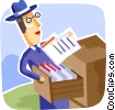 Doing Paperwork Vector Clip Art picture