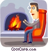Vector Clip Art graphic  of a Fireplace