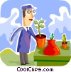 Gardeners Vector Clip Art graphic