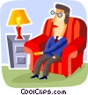 Vector Clipart illustration  of a Relaxing at Home or Cottage