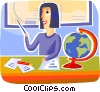 Teacher talking in geography class Vector Clipart graphic