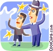 Vector Clipart image  of a man and his son looking at the