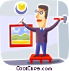 Man hanging picture Vector Clipart graphic