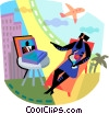 Vector Clipart graphic  of a Family Vacations