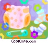 Vector Clipart graphic  of a diapers and baby socks