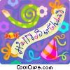 Vector Clip Art image  of a Birthday banner party hats streamers
