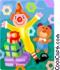 Vector Clipart graphic  of a Birthday presents with a clown