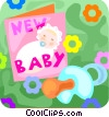 Vector Clipart image  of a pacifier and greeting card