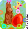 chocolate bunny and a Easter egg Vector Clipart picture