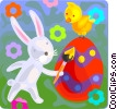 Vector Clipart graphic  of a Easter bunny painting an