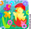 chicks with Easter eggs and a flower Vector Clipart illustration