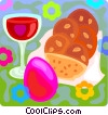 Vector Clip Art graphic  of an an Easter egg with wine and