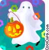 Vector Clipart picture  of a trick or treating ghost