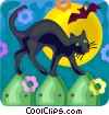 Vector Clipart graphic  of a black cat and a bat
