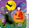 children trick or treating Vector Clipart illustration