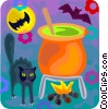 Vector Clip Art image  of a Black cat and witches brew