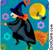 Vector Clip Art picture  of a Flying witch