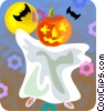 Vector Clip Art graphic  of a Trick or treating ghost