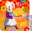 Vector Clipart illustration  of a Pioneer serving thanksgiving