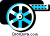 Vector Clipart illustration  of a Film Strips and Post